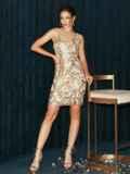 Бежевое платье на узких бретелях расшитое пайетками 52144, фото 7