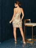 Бежевое платье на узких бретелях расшитое пайетками 52144, фото 8