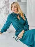 Бирюзовое платье с рукавом-реглан и разрезом спереди 50081, фото 2