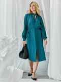 Бирюзовое платье с рукавом-реглан и разрезом спереди 50081, фото 3