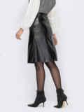 Черная юбка-трапеция из экокожи 53324, фото 2