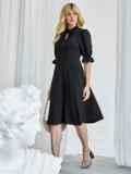 Чёрное платье с воротником-аскот и рукавом-фонарик 50082, фото 2