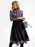 Комбинированное платье с принтом и асимметричной юбкой черное 52874, фото 2