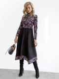 Комбинированное платье с принтом и асимметричной юбкой черное 52874, фото 3