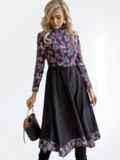 Комбинированное платье с принтом и асимметричной юбкой черное 52874, фото 4
