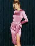 Приталенное платье из атласа с оборкой на юбке розовое 51958, фото 3
