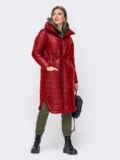 Удлиненная куртка с разрезами по бокам красная 51775, фото 2
