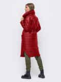 Удлиненная куртка с разрезами по бокам красная 51775, фото 3
