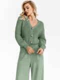 Вязаный костюм зелёного цвета из кофты и брюк 54925, фото 3
