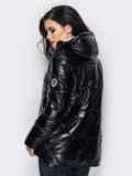 Куртка чёрного цвета с удлиненной спинкой 15050, фото 2