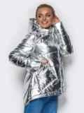 Куртка серебристого цвета с удлиненной спинкой 15048, фото 2