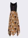 Платье без рукавов с принтованной асимметричной юбкой коричневого цвета 53839, фото 4
