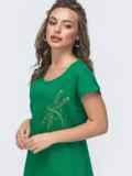 Свободное платье-миди из льна с вышивкой зеленое 46750, фото 2