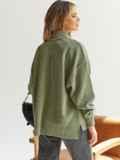 Зелёный свитер с высокой горловиной и удлиненной спинкой 54930, фото 3
