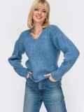 Тёплый свитер с V-образным вырезом горловины голубой 52912, фото 2