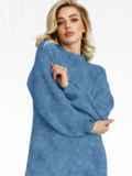 Вязаная туника с объемными рукавами синяя 52905, фото 2