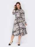 Платье с принтом и юбкой-клеш серое 53147, фото 2