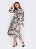 Платье с принтом и юбкой-клеш серое 53147, фото 3