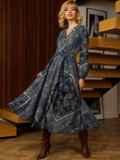 Бирюзовое платье с принтом и юбкой-полусолнце 52664, фото 3