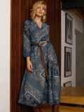 Бирюзовое платье с принтом и юбкой-полусолнце 52664, фото 4