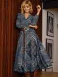 Бирюзовое платье с принтом и юбкой-полусолнце 52664, фото 5