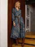Бирюзовое платье с принтом и юбкой-полусолнце 52664, фото 6