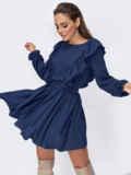 Короткое платье с рюшами по бокам темно-синее 53679, фото 2