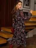 Расклешенное платье из шифона с турецким принтом черное 52661, фото 4