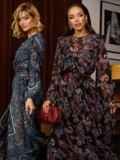 Расклешенное платье из шифона с турецким принтом черное 52661, фото 5
