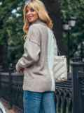 Бежевый вязаный свитер с высоким воротником 50712, фото 2