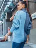 Голубой вязаный свитер с высоким воротником 50710, фото 2