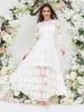 Платье из гипюра молочного цвета с расклешенной юбкой 44755, фото 3