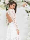 Платье из гипюра молочного цвета с расклешенной юбкой 44755, фото 4