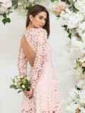 Платье из гипюра пудрового цвета с расклешенной юбкой 44756, фото 4