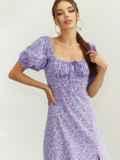 Платье из принтованого софта с разрезом по бедру сиреневое 54070, фото 2