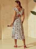 Платье молочного цвета с орининальным вырезом по спинке 53982, фото 4
