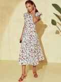 Платье молочного цвета с орининальным вырезом по спинке 53982, фото 5