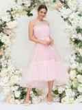 Платье пудрового цвета с фатиновым воланом по низу 44753, фото 4