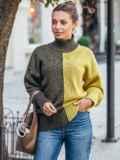 Вязаный свитер цвета хаки с высоким воротником 50714, фото 2