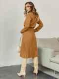 Бежевое платье из костюмной ткани с юбкой-плиссе 55499, фото 3
