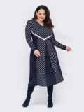 Темно-синее расклешенное платье батал с контрастными вставками 52789, фото 1
