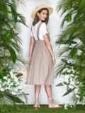 Бежевая юбка из льна на широких бретелях 22043, фото 3