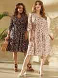 Платье батал с цветочным принтом и юбкой-клеш черное 53804, фото 5