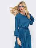 Платье синего цвета с юбкой-плиссе 45865, фото 2
