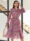 Розовое платье из шифона с принтом и V-образным вырезом 54819, фото 3