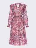 Розовое платье из шифона с принтом и V-образным вырезом 54819, фото 5