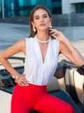 Блузка белого цвета с V-вырезом 40074, фото 1