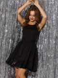 Чёрное платье-мини с пайетками и расклешенной юбкой 42847, фото 2
