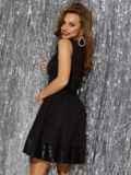 Чёрное платье-мини с пайетками и расклешенной юбкой 42847, фото 3