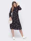 Чёрное платье с принтом и расклешенной юбкой 45753, фото 2